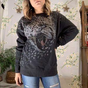 EUC all saints black leopard sweatshirt